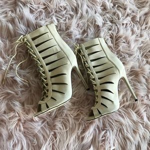 Lace up Booties in Nude